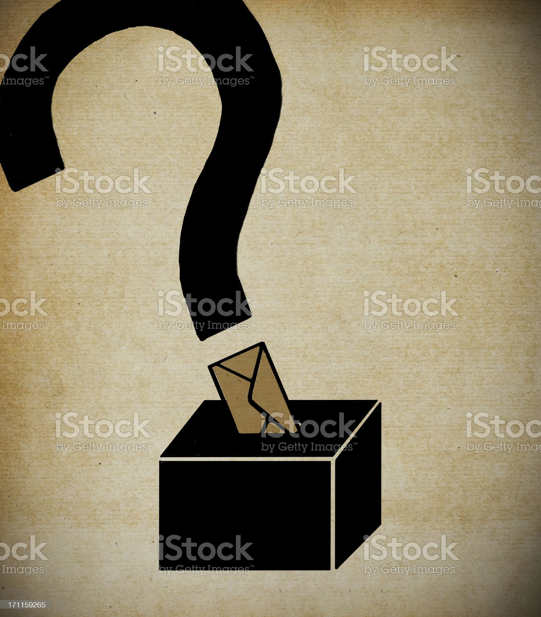 Black ballot box with question mark rising from top slot royalty-free stock vector art