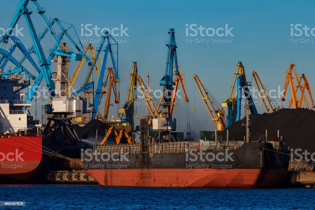 Black barge loading stock photo