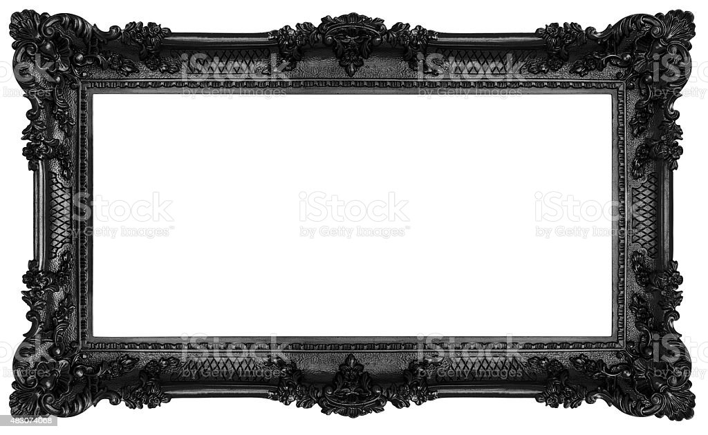 Black Baroque frame stock photo