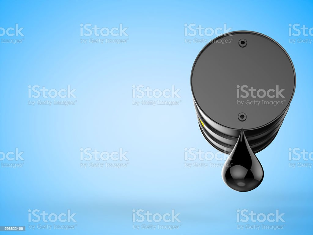 black barrel with droplet of crude oil stock photo