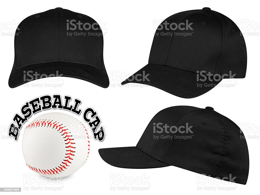 black baseball cap set stock photo