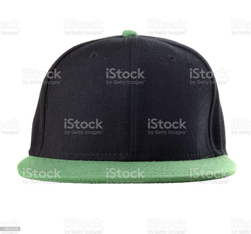 Black baseball cap with green brim stock photo