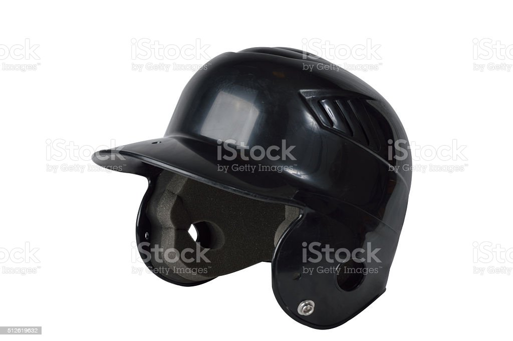 Black baseball helmet isolated stock photo