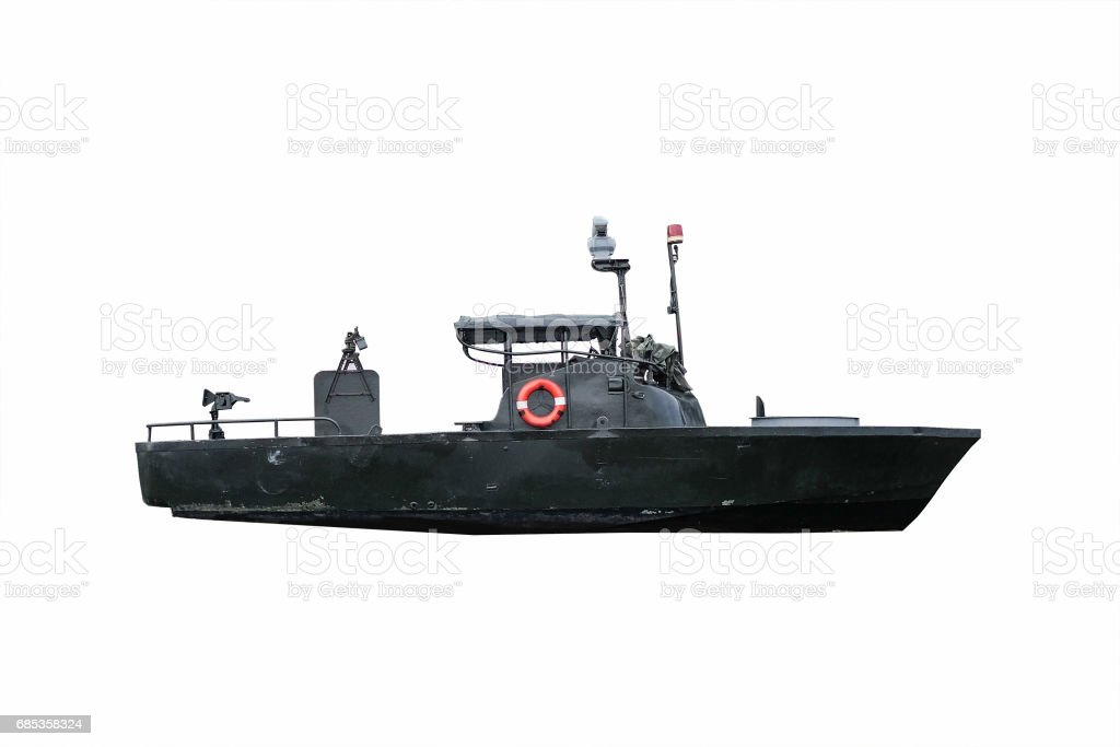 Black battle ship under the white background with clipping path stock photo