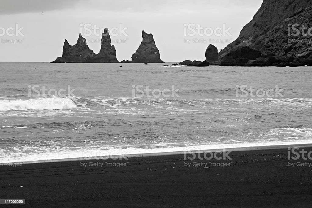Black Beach And Rocks In Vik royalty-free stock photo