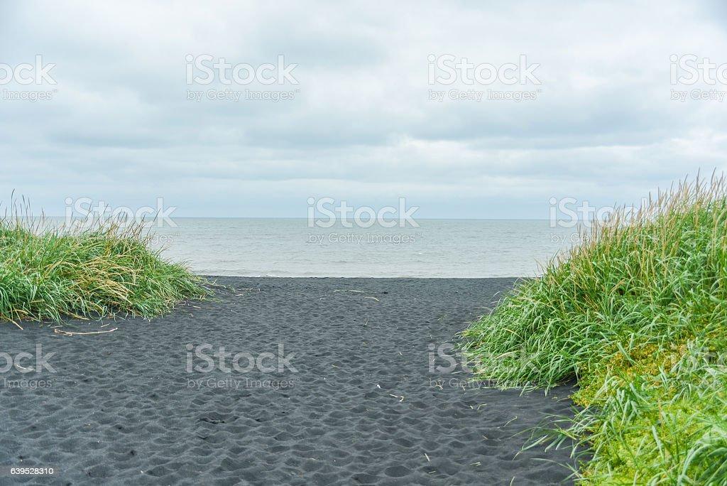 black beach at iceland stock photo