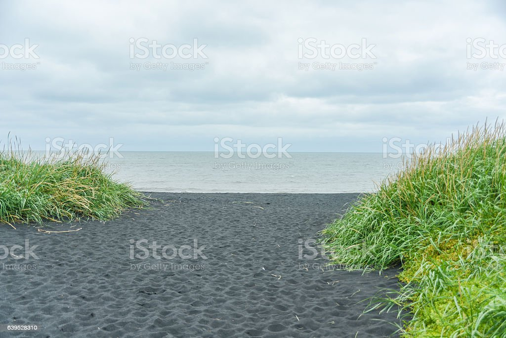 black beach at iceland stock photo