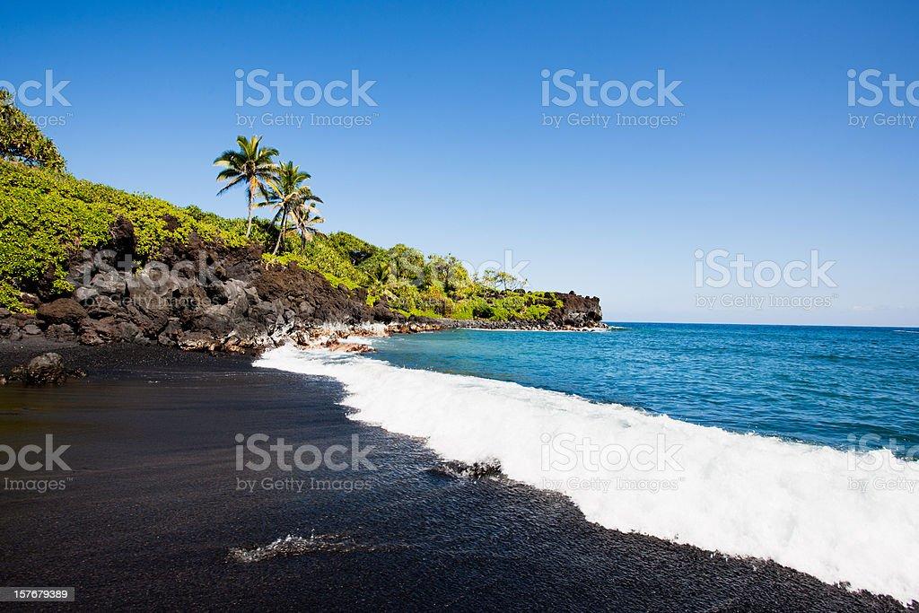 Black Beach Honokalani Wainapanapa Maui Hawaii stock photo