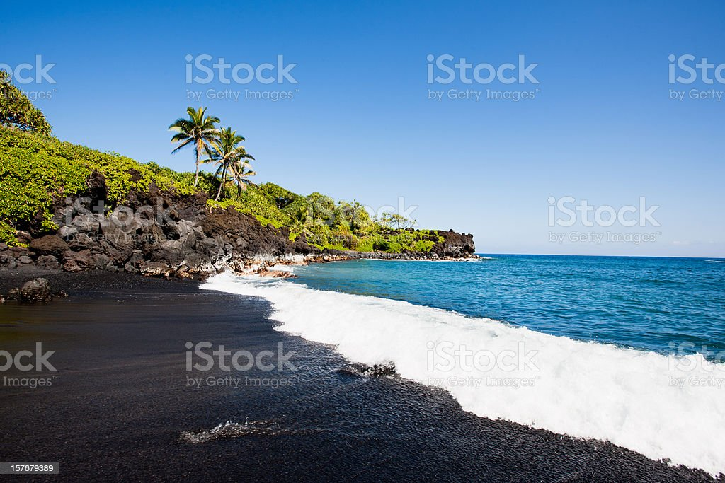 Black Beach Honokalani Wainapanapa Maui Hawaii stock photo