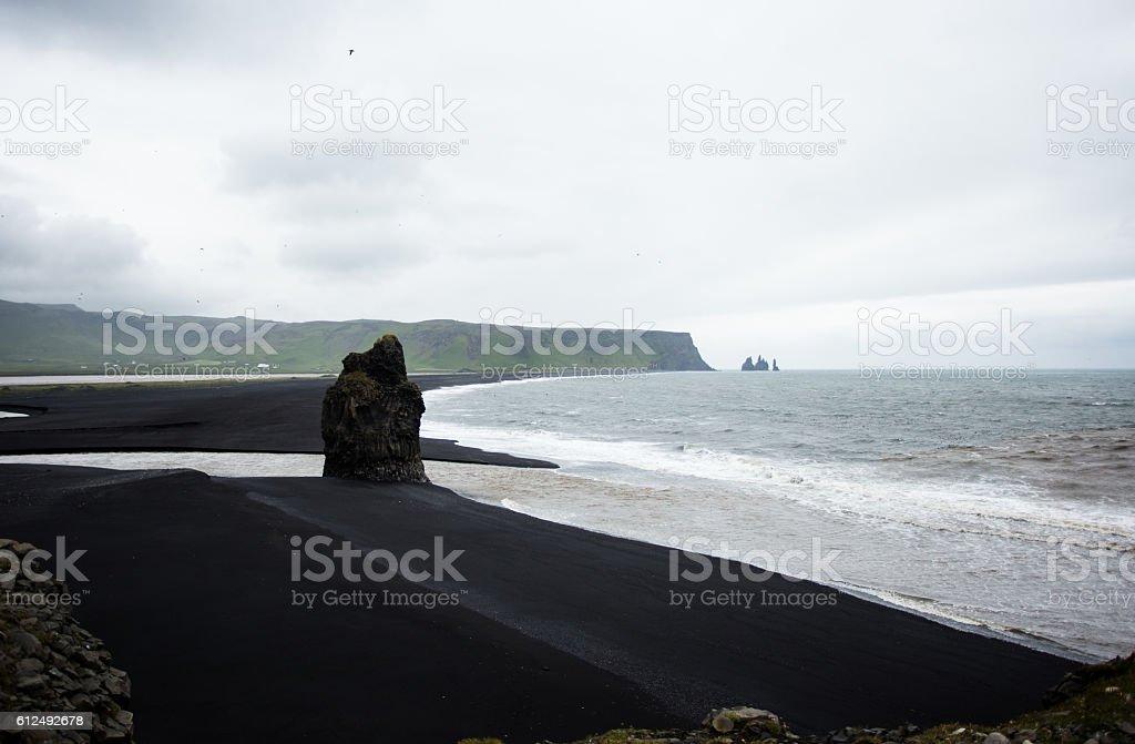Black beach in Iceland. Dyrhólaey stock photo