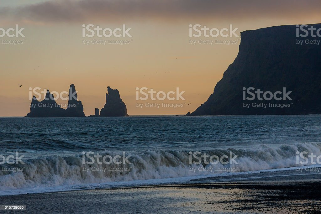 Black beach in Vik, southern Iceland stock photo