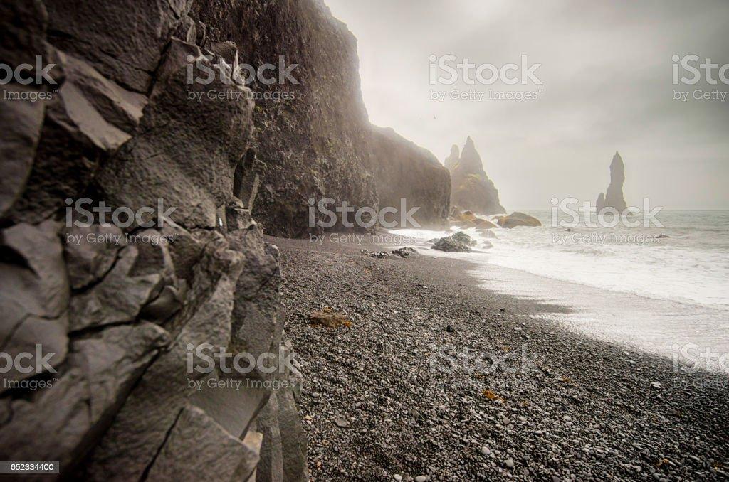 Black beach of Reynisfjara stock photo
