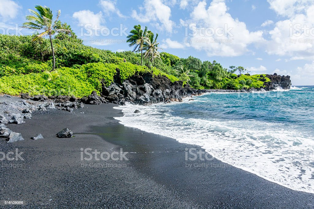 Black beach on Hawaii stock photo