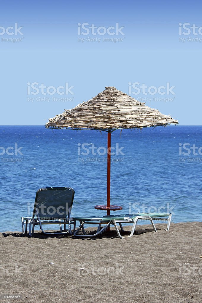 Black Beach Umbrella - Greece royalty-free stock photo