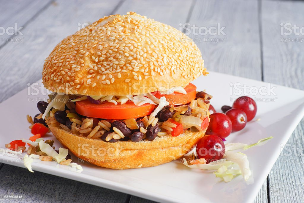 Black Bean and Rice Burger stock photo