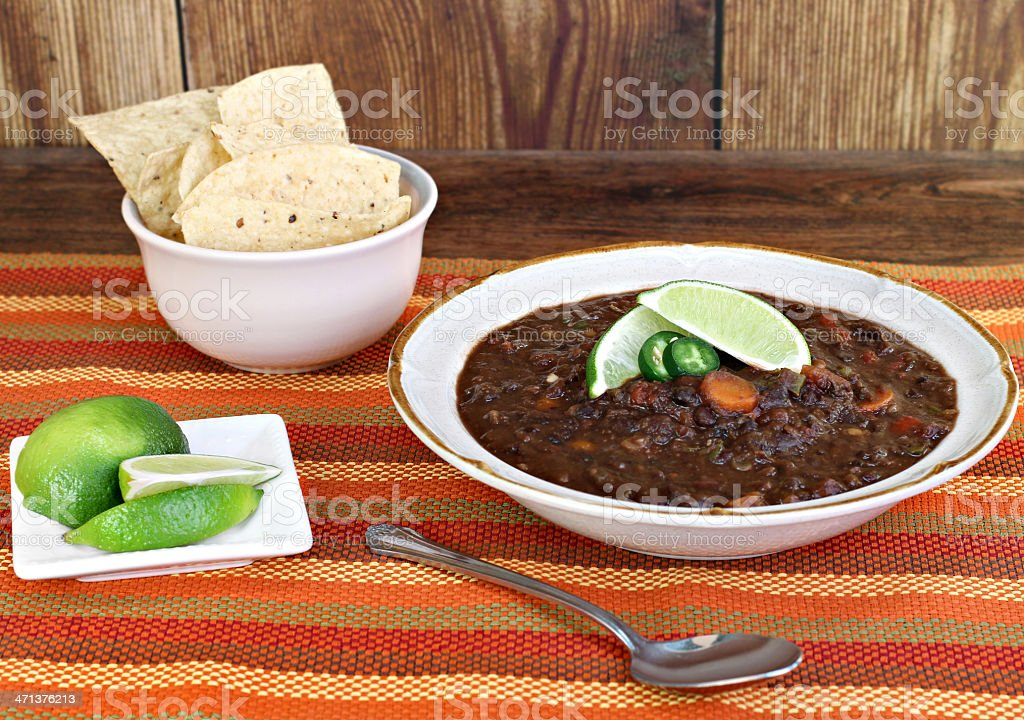 Black Bean Soup with Fresh Lime stock photo