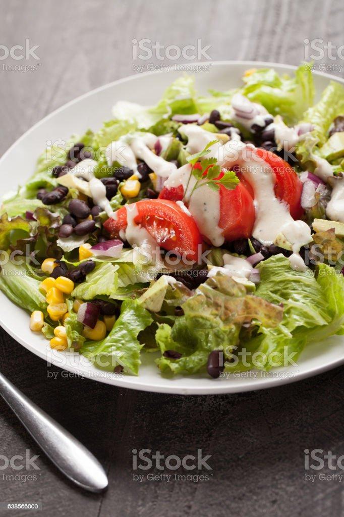Black Bean Southwest Salad angled shot stock photo