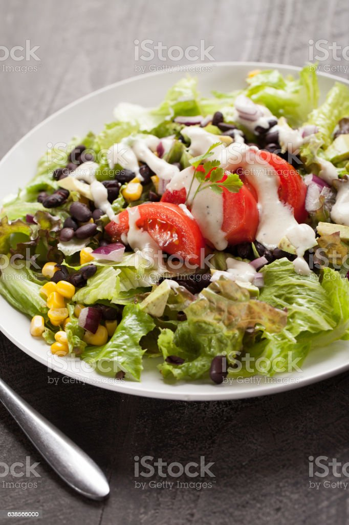 Black Bean Southwest Salad angled shot stock photo
