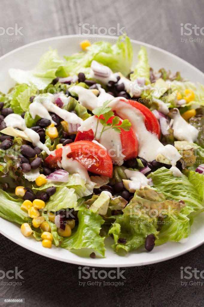 Black Bean Southwest Salad with various toppings stock photo