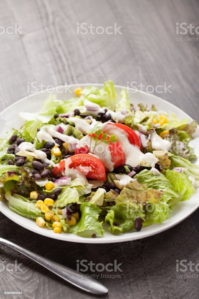 Black Bean Southwest Salad with vertical shot stock photo