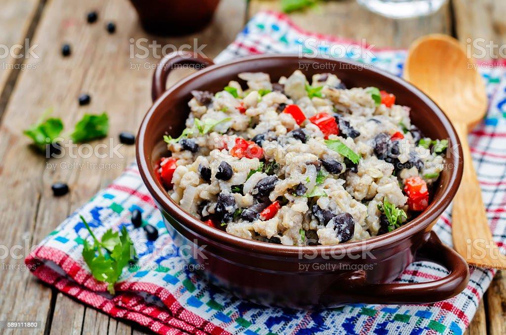 Black beans pepper cilantro cauliflower brown rice stock photo