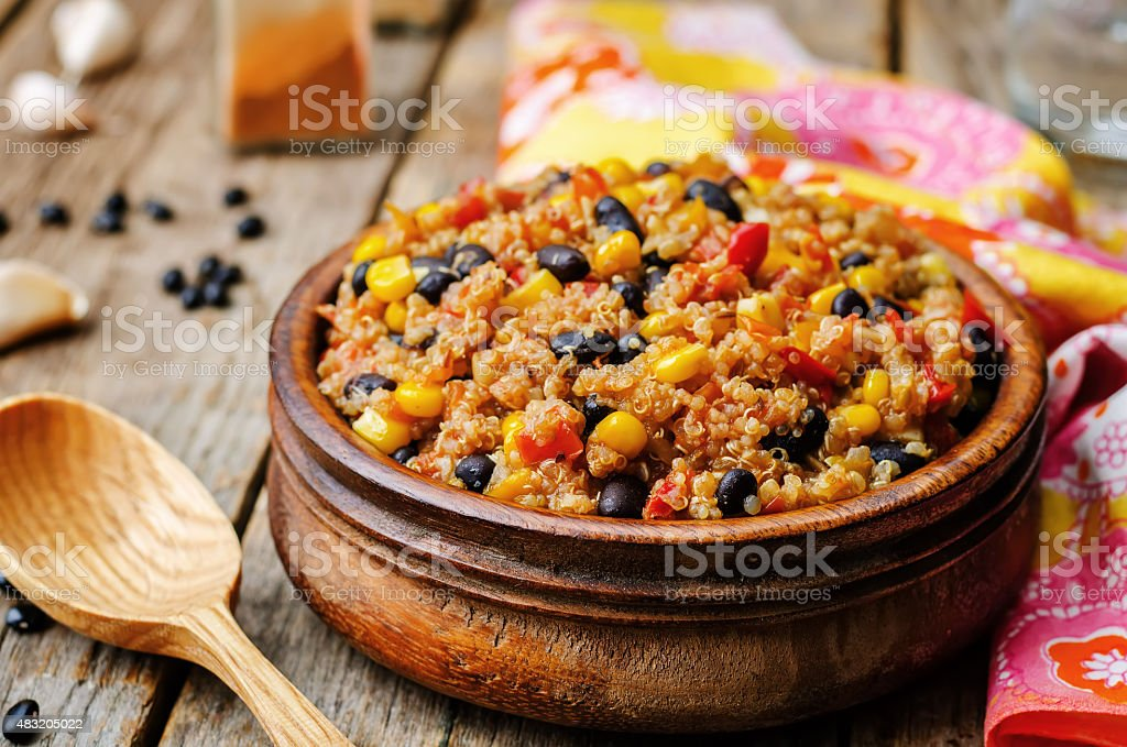 black beans, quinoa and corn chili stock photo