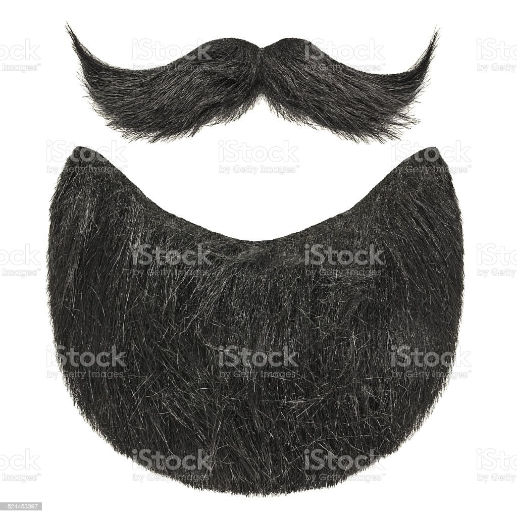 Black beard with curly mustache isolated on white stock photo