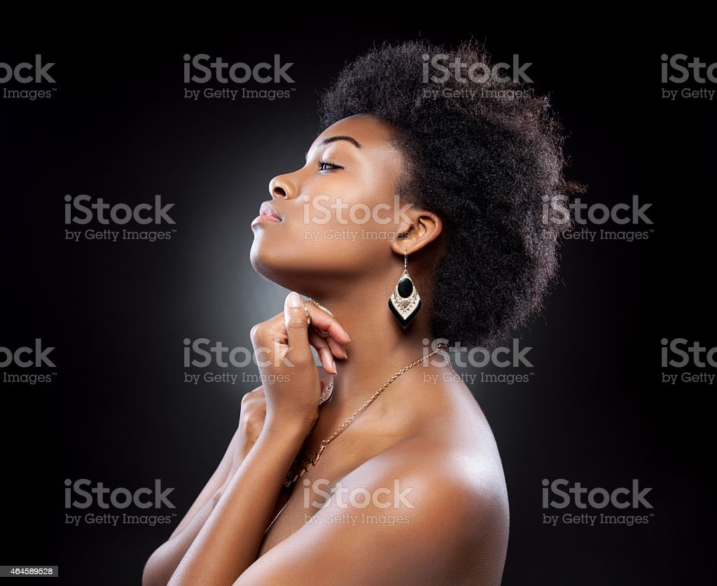 Black beautiful woman with afro hairstyle stock photo