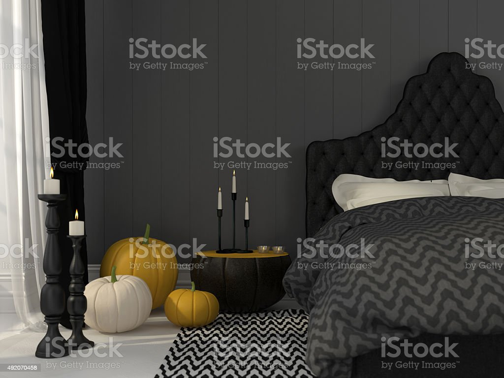 Black bedroom decorated for Halloween stock photo