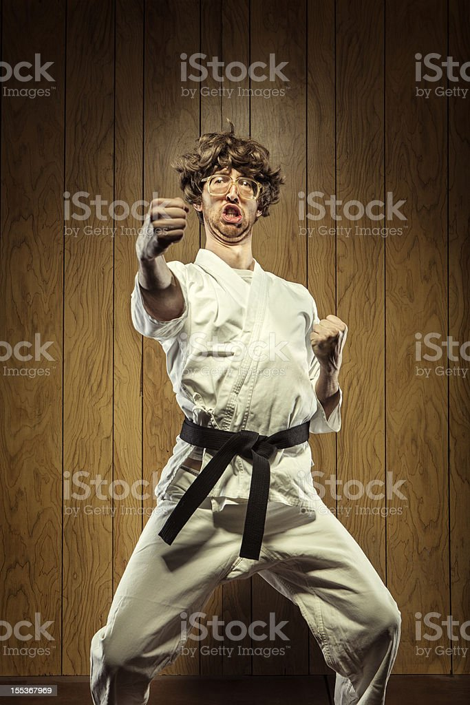 Black Belt Karate Nerd Man stock photo