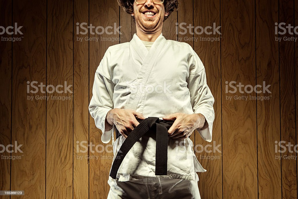 Black Belt Karate Nerd Man royalty-free stock photo