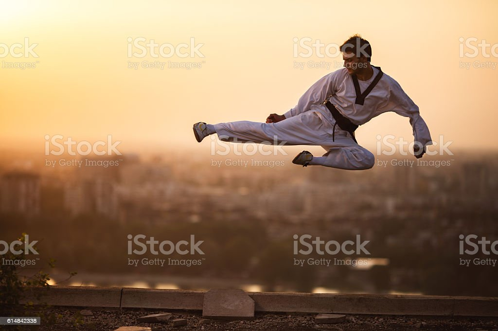 Black belt martial artist performing fly kick at sunset. stock photo