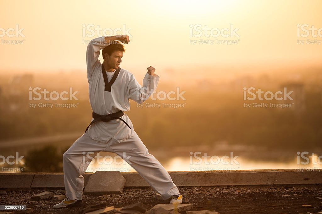 Black belt martial artist practicing karate at sunset. stock photo