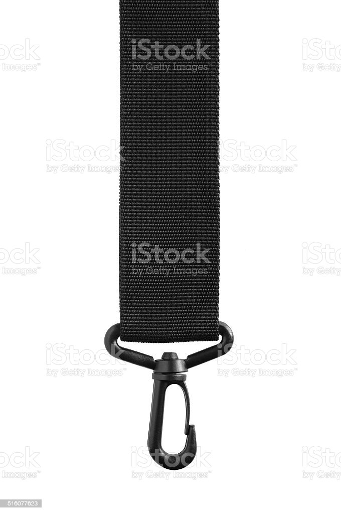 Black belt rope strap lanyard, hanging clasp snap latch isolated stock photo