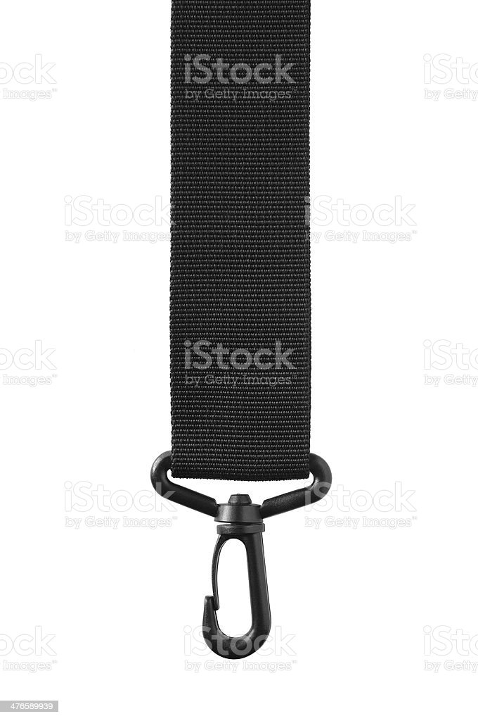 Black belt rope strap lanyard, hanging plastic clasp snap latch stock photo