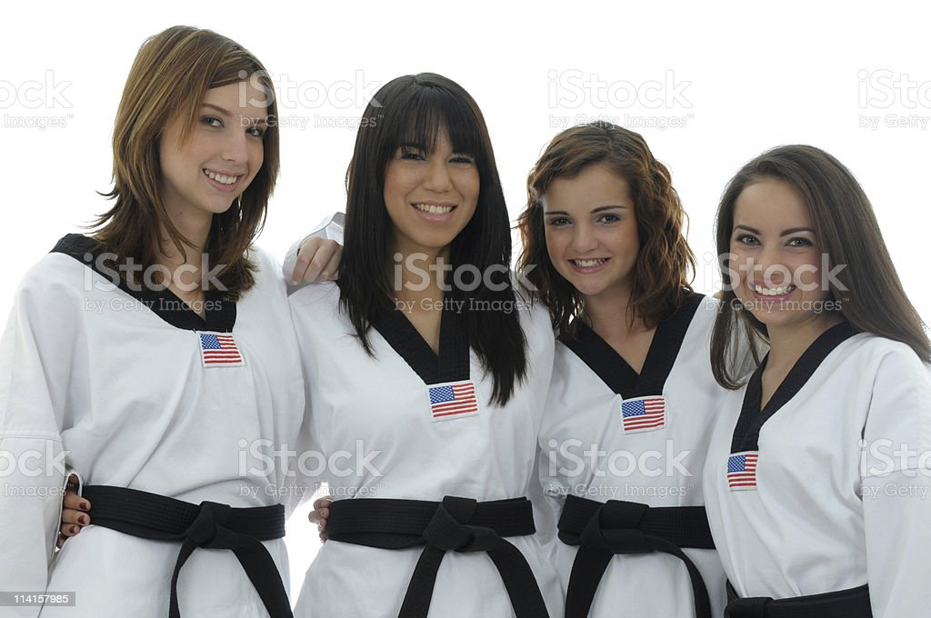 Black belts stock photo