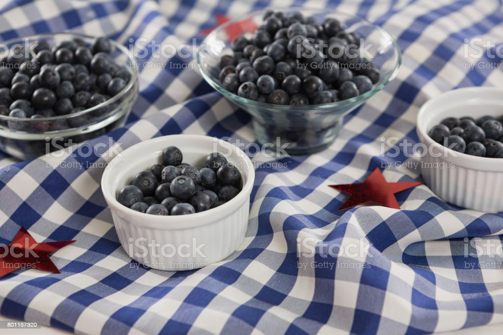 Black berries in bowls with 4th july theme stock photo