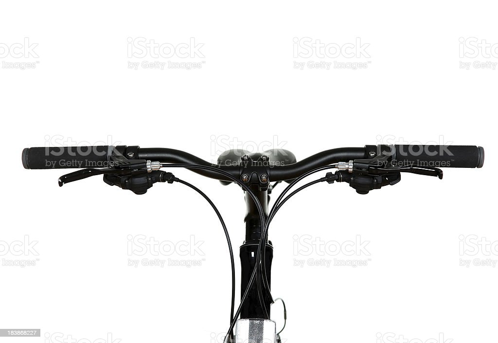 Black bicycle handlebars on white background. stock photo
