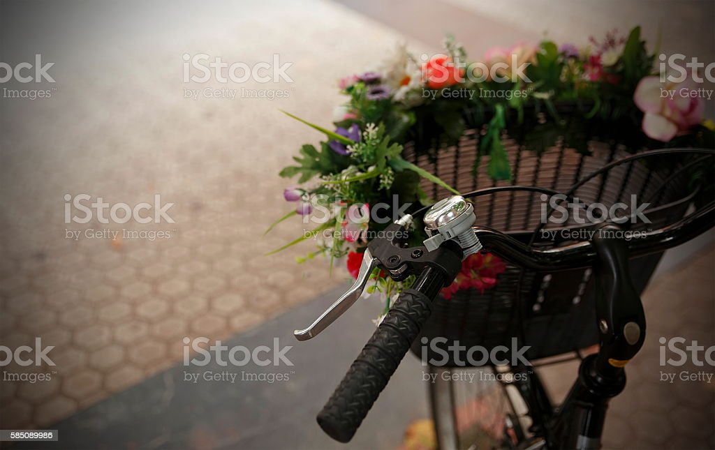 black bike-donostia stock photo