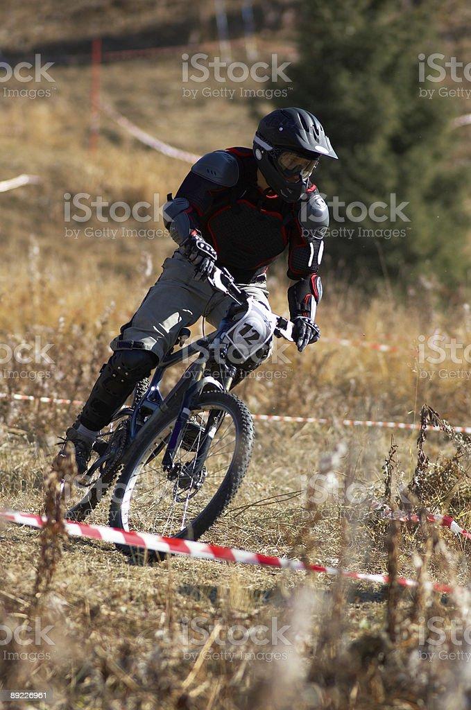 Black biker on race royalty-free stock photo