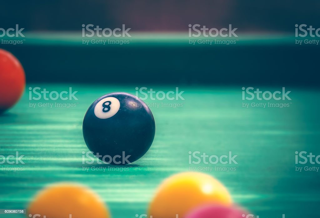 Black billard ball stock photo