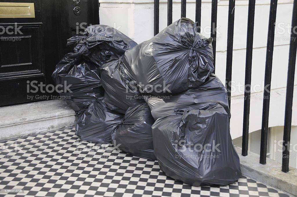 Black Bin Bags Stacked stock photo