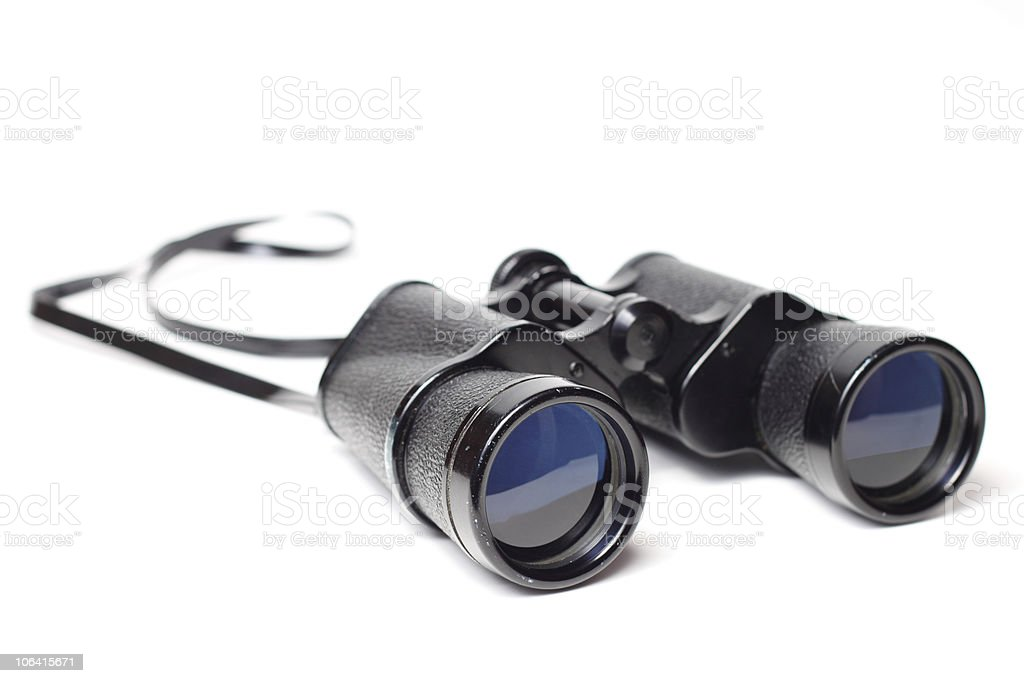 Black binoculars with a neck cord stock photo