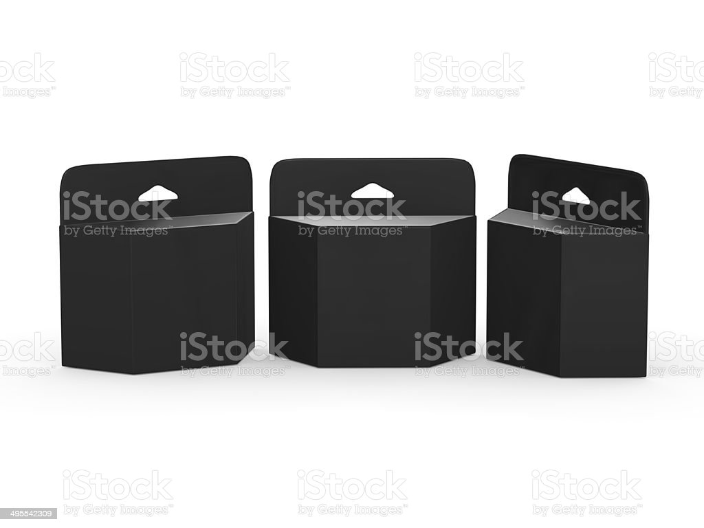 Black blank trapezoid box Ink Cartridge Package  with clipping p stock photo