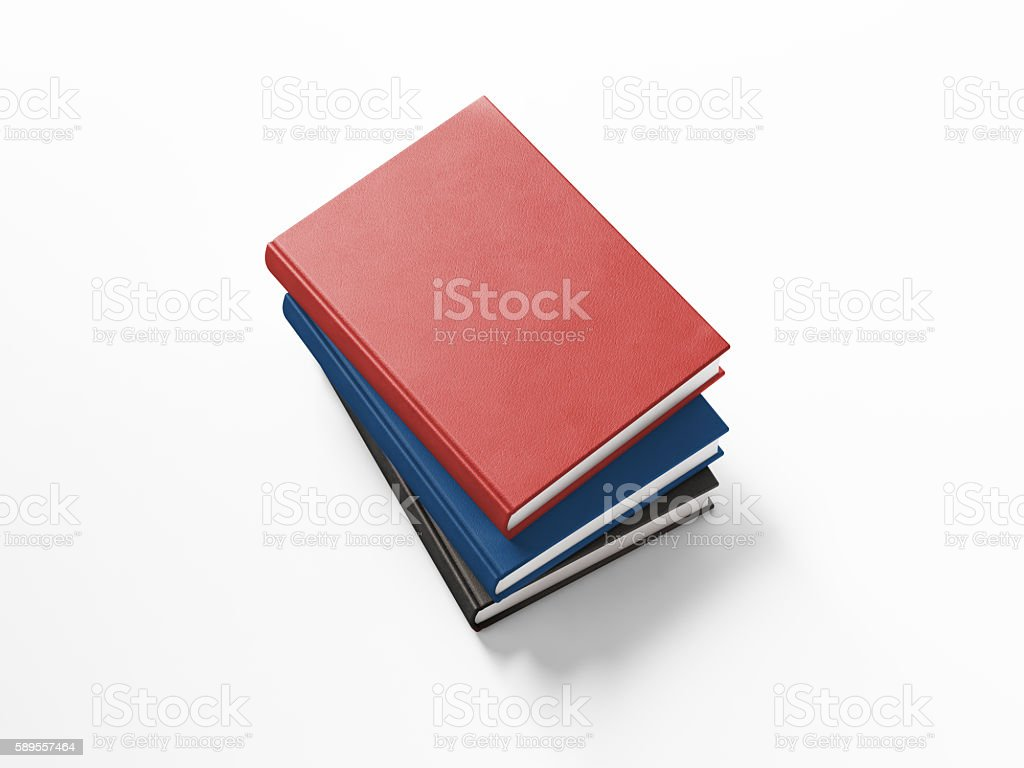 Black Blue and Red Leather Covered Books On White Background stock photo