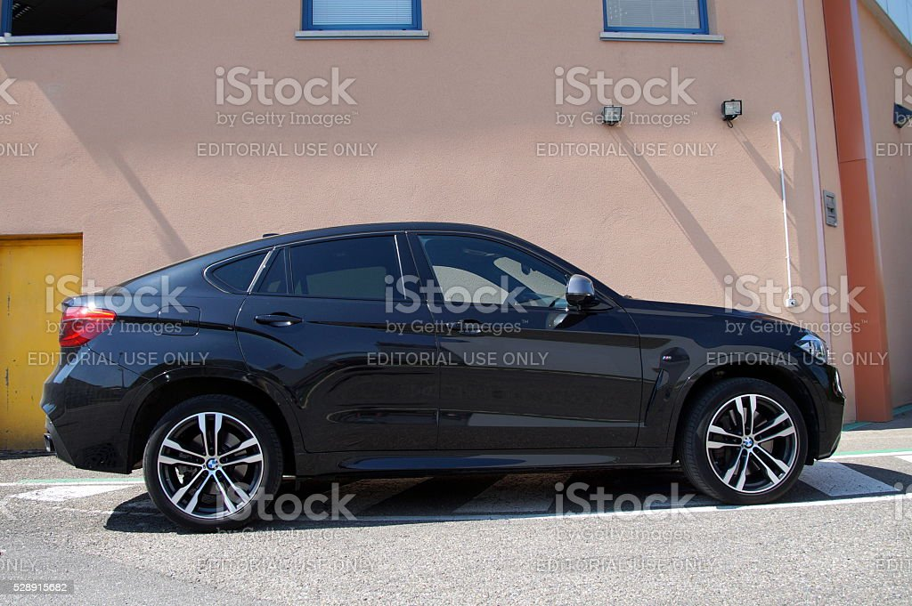Black BMW X6 - Luxurious SUV coupe crossover stock photo