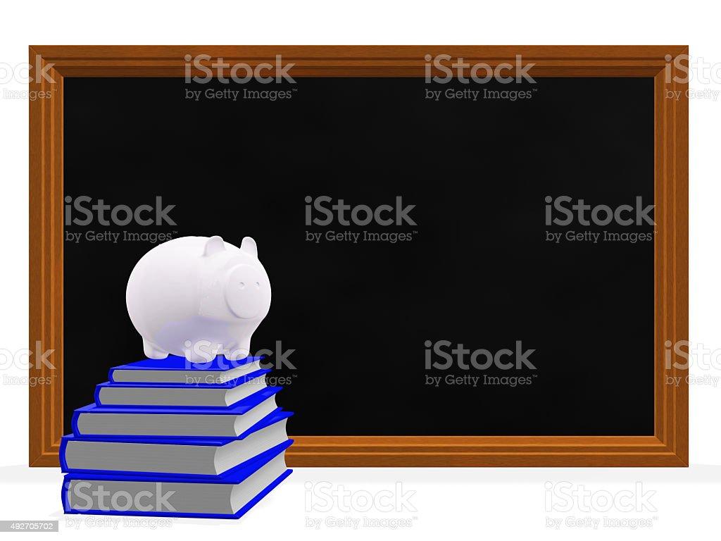 Black Board Books and Savings Piggy Bank stock photo