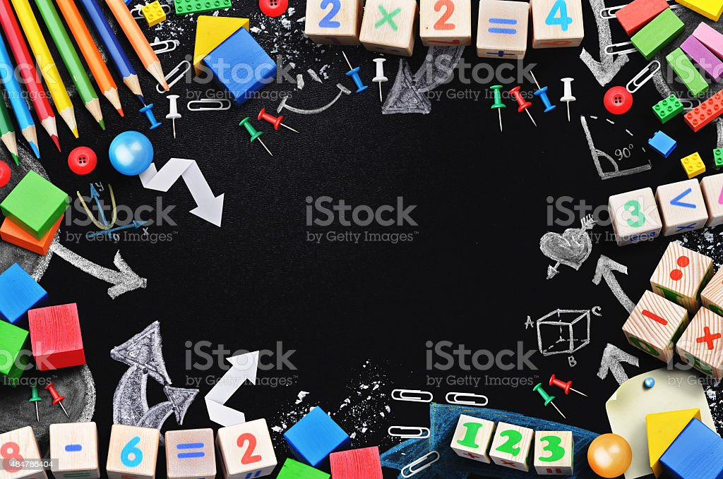 Black board with school tools temlate stock photo