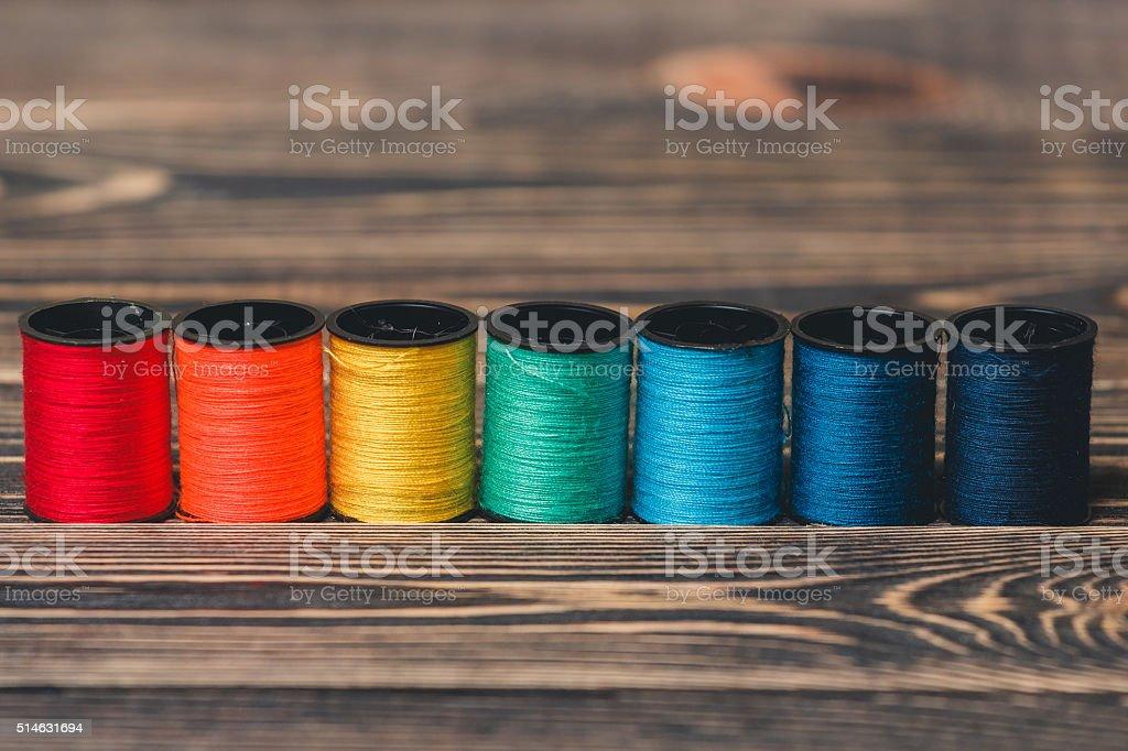 black bobbin thread stock photo