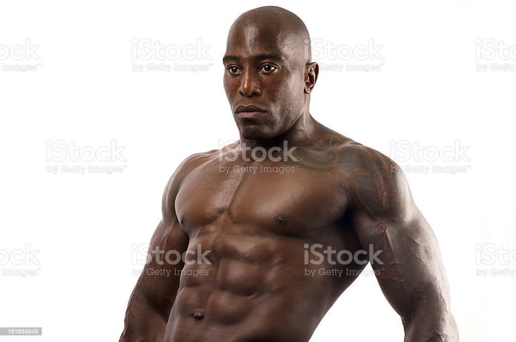 Black bodybuilder topless. Strong man with perfect abs stock photo